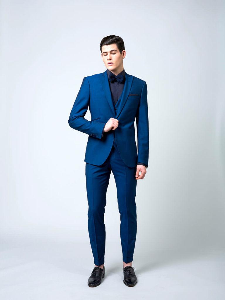 Costume sur mesure bleu canard