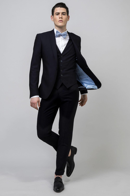 costume 3 pièces marine et bleu clair