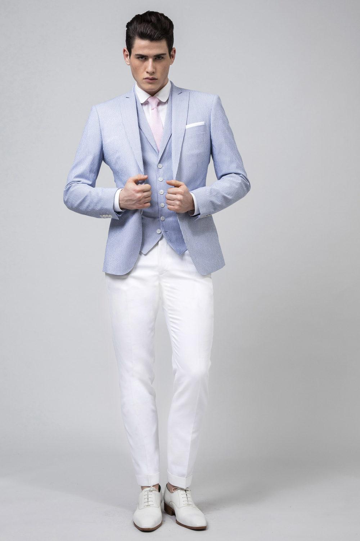 Veste en seersucker de coton couleur ciel et blanc