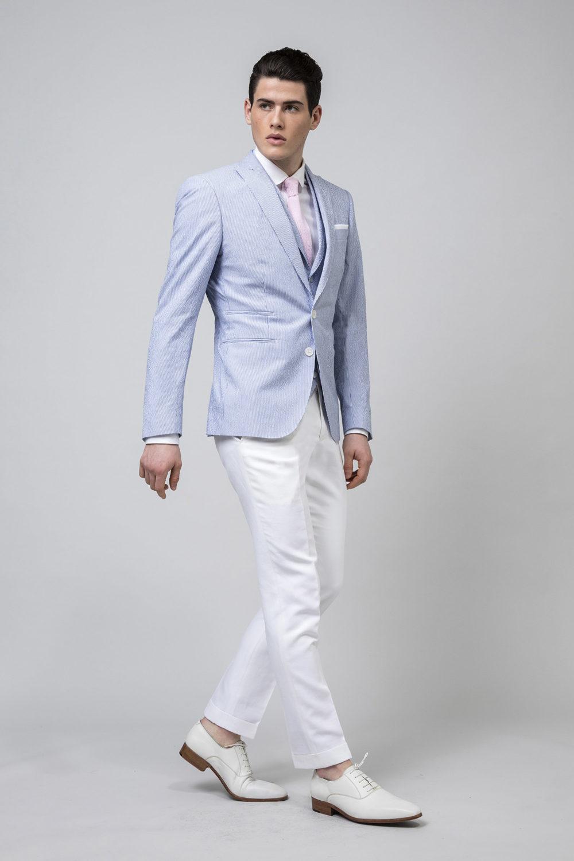 Veste en seesucker de coton couleur ciel et blanc